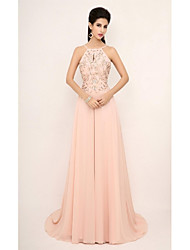 Formal Evening Dress Sheath / Column Straps Court Train Chiffon with Beading / Crystal Detailing