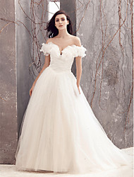 Lanting Bride® A-line Wedding Dress Sweep / Brush Train Off-the-shoulder Tulle with Sequin