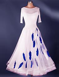 Ballroom Dance Dresses Women's Performance Spandex Draped Crystals 1 Piece Modern Dance Dress