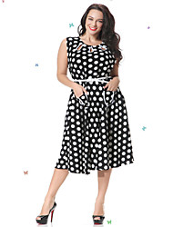Women's Casual / Day / Boho / Beach Polka Dot Swing Dress , Round Neck Knee-length Spandex