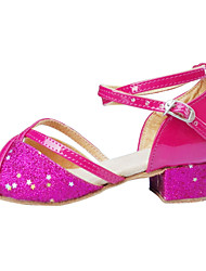 Women's / Kids' Dance Shoes Latin Satin / Flocking / Synthetic Low Heel Pink / Silver / Gold