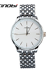 SINOBI® Men's Watches Gents Business Quartz Watch Silver Watchband White Surface Brand Round Wristwatches Wrist Watch Cool Watch Unique Watch