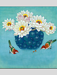 Oil Paintings Flower Style  Canvas Material with Stretched Frame Ready To Hang Size 70*70CM