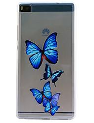 Pour Coque Huawei P8 P8 Lite Relief Coque Coque Arrière Coque Papillon Flexible PUT pour Huawei Huawei P8 Huawei P8 Lite