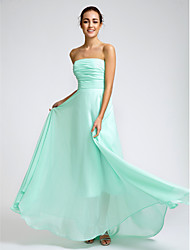 Floor-length Chiffon Bridesmaid Dress - Sky Blue A-line Strapless