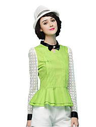 Women's Solid White / Green Blouse , Bow Long Sleeve