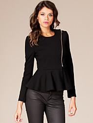 Women's New Style Round Long Sleeve Waisted Peplum Coat