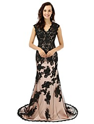 Formal Evening Dress - Color Block Trumpet / Mermaid V-neck Court Train Lace with Appliques Lace