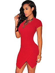 Women Mini Dress Asymetric Hem Exposed Zipper Round Neckline Sxy One-Piece