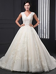 A-line Wedding Dress - Champagne Chapel Train V-neck Lace