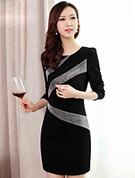 Women's Striped Black Dresses , Casual Round Long Sleeve