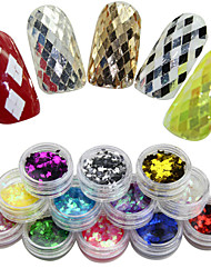New Deisgn 12 Colors Nail Art Decoration Rhombus Paillette Glitter Nails Glitter 3D Slice Powder Set Finger Deisgn Tool