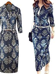 Vestido De las mujeres Vintage / Bodycon / Con Estampado - Denim