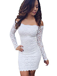 Women's Sexy Lace Off Shoulder Long Sleeve Bodycon Mini Dress