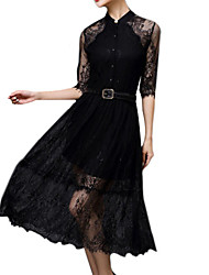 Women's Vintage/Sexy/Casual/Lace/Cute/Party/Work Micro-elastic ½ Length Sleeve Midi Dress (Lace)
