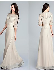 Formal Evening Dress - Champagne Sheath/Column Jewel Floor-length Chiffon