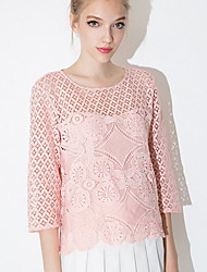 Women's Solid / Striped Pink Blouse , Round Neck Long Sleeve