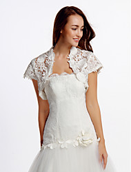Wedding  Wraps Shrugs Short Sleeve Lace Ivory Wedding Party/Evening Casual Lace Open Front