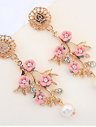 Literary Temperament Small Fresh Flowers Pearl Alloy Earring