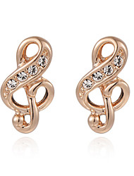 HKTC Concise Made with Austrian Crystal Stellux Jewelry Valentine's Day Gift Music Note Stud Earrings