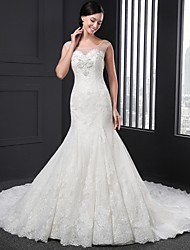 Sheath / Column Wedding Dress Chapel Train Jewel Lace with Appliques