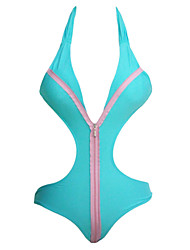 Women's Sexy Color Block Wireless Halter One-pieces Swimwear