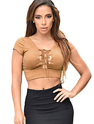 Women Crop Top Faux Suede Strap Lace Up V-Neck Open Back Slim Tops