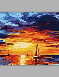 Boat and Sunrise on Sea Handmade Oil Painting