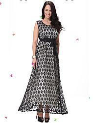Women's Beach Trumpet/Mermaid Dress,Polka Dot Round Neck Maxi Sleeveless Black Spandex Spring