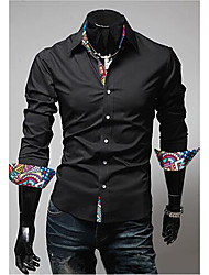 Men's Long Sleeve Shirt , Polyester Casual Print