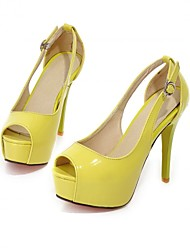 Women's Shoes Patent Leather Stiletto Heel Heels / Peep Toe / Platform Sandals Party & Evening / Dress / Yellow / Red /
