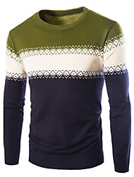 Men's Casual Slim Mixed Colors Pullover , Cotton / Polyester Long Sleeve
