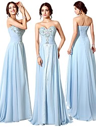 Dress - Sky Blue Sheath/Column Sweetheart Court Train Chiffon