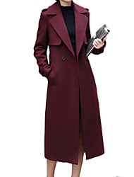Women's Solid Red Coat  Vintage  Casual Long Sleeve Others