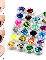 24 Color Hexagon Sequins Nail Art Decorations