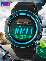 Men's Solar Battery LCD Digital Sport Watch Fashion Sporty Stopwatch