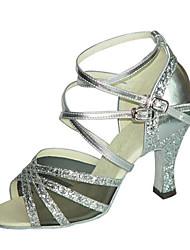 Non Customizable Women's Dance Shoes Latin / Swing / Salsa/ Samba  / Paillette Chunky Heel Purple / Silver/ Gold