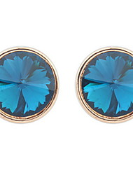 Retro Round Alloy Sapphire-jewelry Earrings