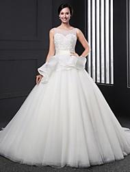 A-line Wedding Dress Chapel Train Jewel Lace with Beading