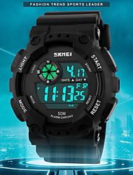 Мужской Наручные часы Цифровой LCD / Календарь / Секундомер / Защита от влаги / тревога / Спортивные часы Pезина Группа Черный бренд-