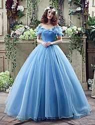 Wedding Dress - Sky Blue Court Train Off-the-shoulder Georgette