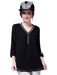 Women's Patchwork Black Blouse , V Neck Long Sleeve