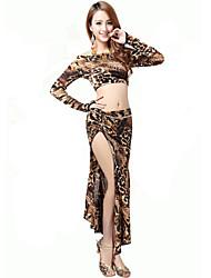 Tenue(Imprimé léopard,Chinlon,Danse du ventre)Danse du ventre- pourFemme Léopard Spectacle Danse du ventre