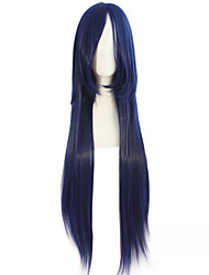 Most Popular cartoon Synthetic Wig 80cm Long Deep Blue With Black Nylon Hair Wigs