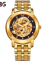 BOS Automatic Mechanical Watches And Watch The Dragon China 3D Luminous Hollow Flywheel