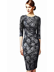 Women's Print / Party Floral Bodycon Dress , Round Neck Knee-length Cotton / Polyester