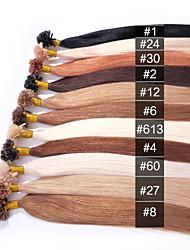 anna u-ponta Pré-Bonded extensões de cabelo italiano de fusão de cola de queratina do cabelo reto de seda 50g ponta do prego / lot (0,5 g