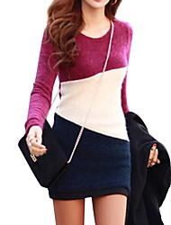 Women's Gray/Purple Mini Dress, Long Sleeve Splice Design