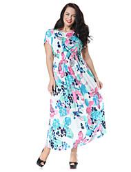 Women's Casual / Day / Boho / Beach Floral Trumpet/Mermaid Dress , Round Neck Maxi Spandex