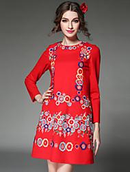 aofuli 2016 Frühlingsfrauen kleiden Vintage High Fashion Stickerei Ethno-Stil elegant plus Größe Kleid rot / schwarz